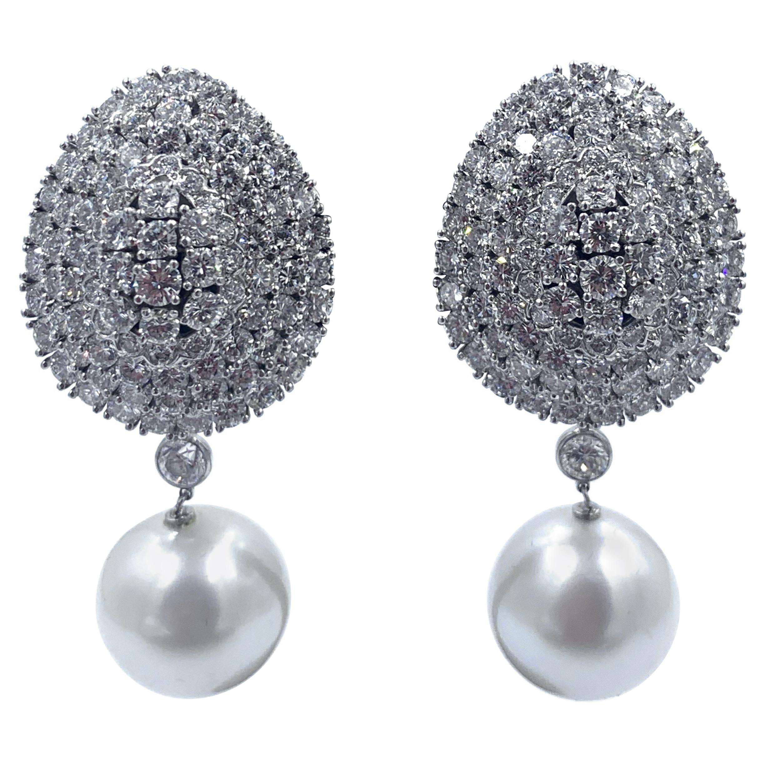 Impressive Platinum Diamond Dome Earrings with Removable South Sea Pearl Drop