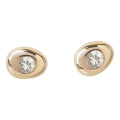 M. Hisae Handmade Small Circle Pebble White Diamond 14k Yellow Gold Stud Earring