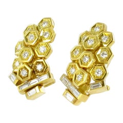 "Yellow Gold Diamond Earclips ""Cluster of Grapes"""