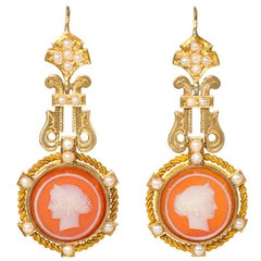 French Antique Gold Cameo Earrings with Pearl Accents