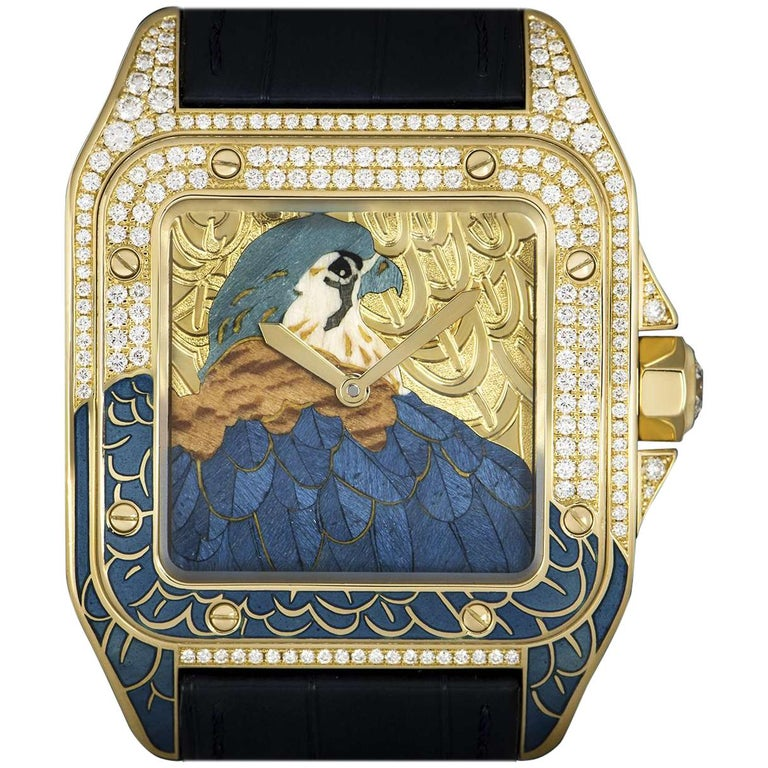 Cartier Ltd Ed Falcon D Art Santos 100 Gents Gold Enamel Dial Automatic  Watch