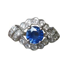 1.14 Carat Sapphire 22 Diamond Platinum Wedding Engagement Ring