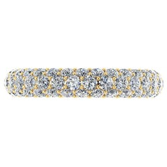 2.00 Carat White Diamond Pave Ring in 18 Karat Yellow Gold
