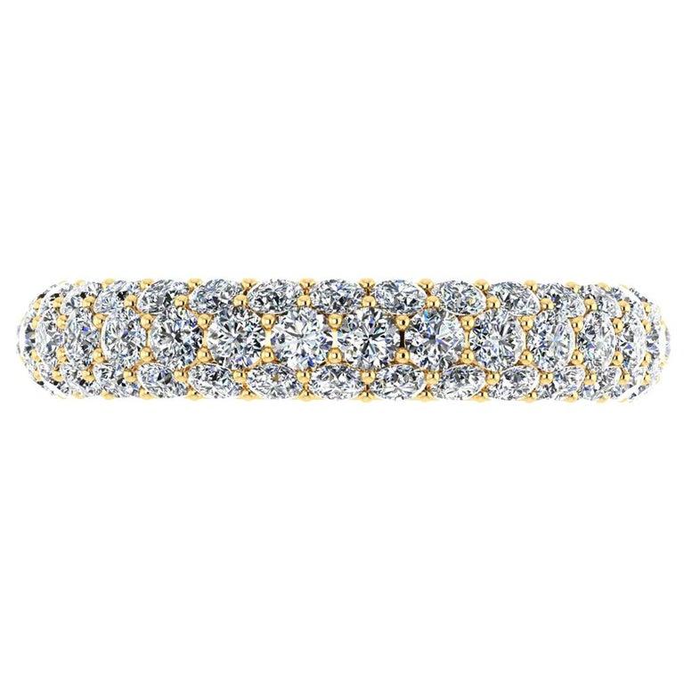 2.00 Carat White Diamond Pave Ring in 18 Karat Yellow Gold For Sale