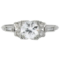 Art Deco 0.97 Carat Diamond Platinum Engagement Ring GIA