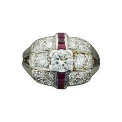 Art Deco Diamond and Ruby Ring in Platinum