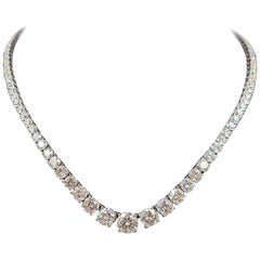 Round Cut Diamond Riviera Graduating Necklace