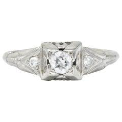 Retro 0.25 Carat Diamond 18 Karat White Gold Engagement Ring