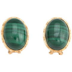 Vintage Malachite Earrings 14 Karat Yellow Gold Oval Estate Fine Jewelry Green