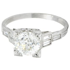 Art Deco 2.35 Carat Diamond Platinum Engagement Ring GIA