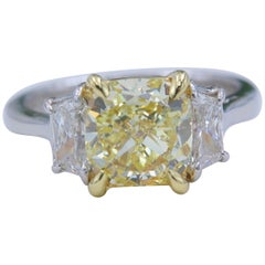 Fancy Yellow 2.75 tcw Cushion Diamond 3 Stone Engagement Ring GIA Plat & 18k YG