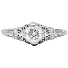 Art Deco 0.75 Carat Diamond Platinum Engagement Ring