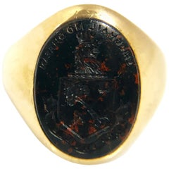 Antique Bailey Banks & Biddle Gold and Blood Stone Intaglio Signet Ring