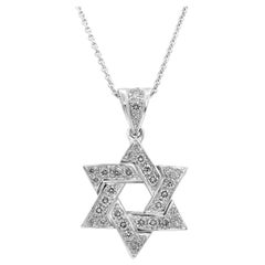 Diamond Star of David Pendant Necklace in 18 Karat White Gold