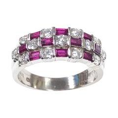 Tiffany & Co. Platinum Ruby and Diamond Dot Dash Ring