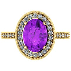 Natural Purple Amethyst and White Diamonds 18 Karat Gold Ring