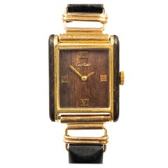 Cartier 1970 Wood Case and Dial Wrist Watch on a Solid Gold and Wood Bracelet