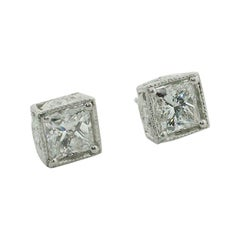 Large Princess Cut Diamond Stud Earrings in Platinum 5.10 Carat H-I SI1 GIA