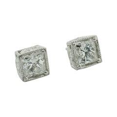 Large Princess Cut Diamond Stud Earrings in Platinum 5.10 Carat H-I SI1 GIA