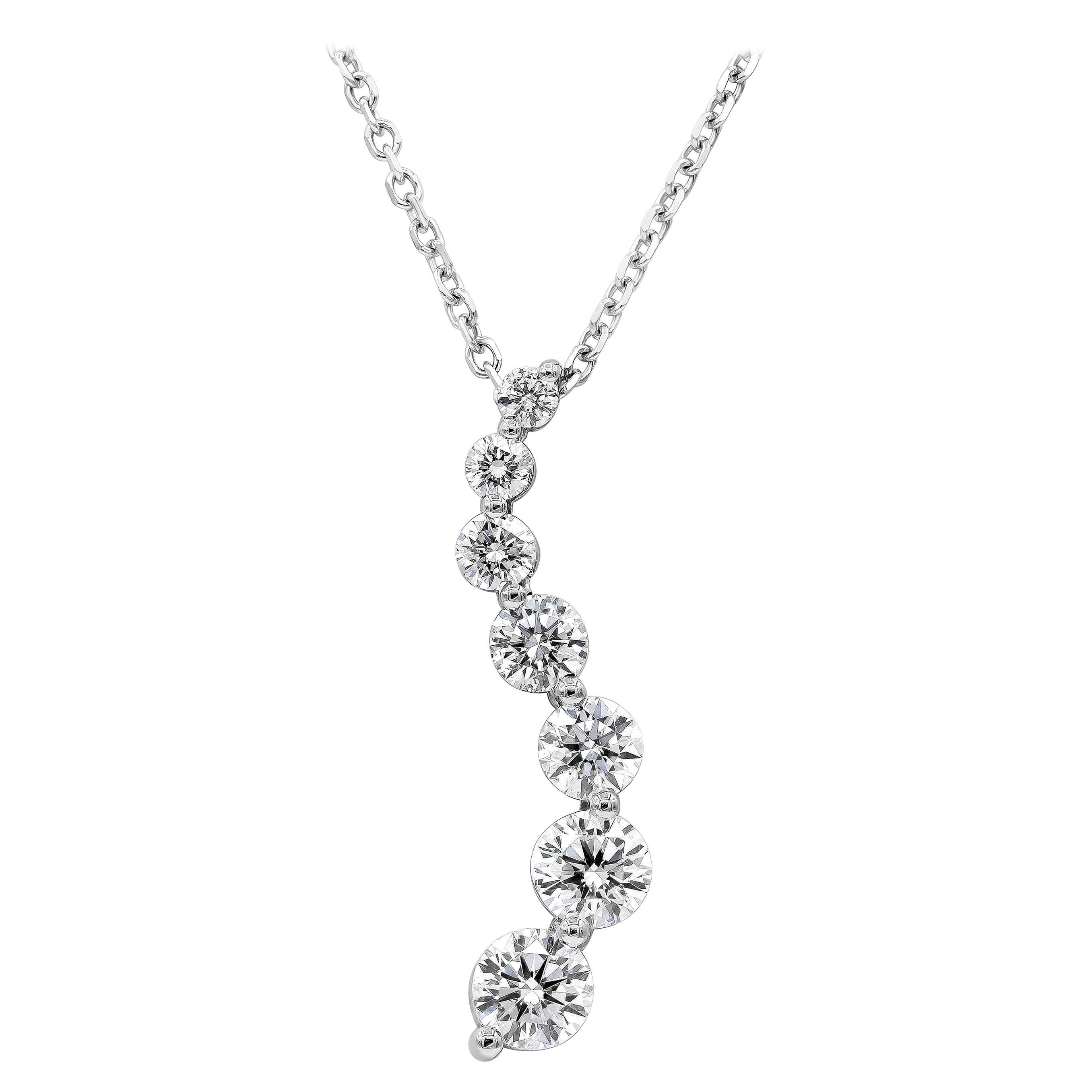Roman Malakov, Seven-Stone Graduating Diamond Journey Pendant Necklace