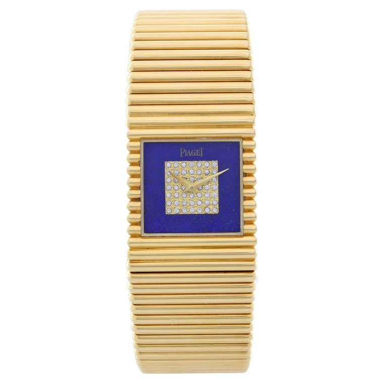 Piaget Ladies Yellow Gold Lapis Lazuli Diamond Dial Emperador Quartz Wristwatch For Sale