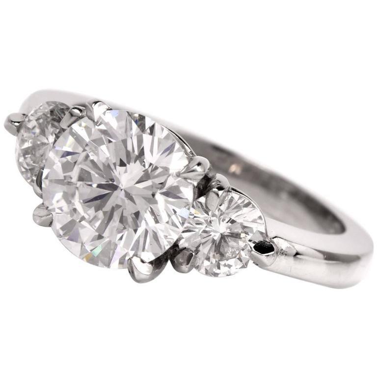 Dover Jewelry & Diamond GIA F-SI1- 2.89  Three Stone Engagement Platinum Ring
