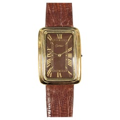 Cartier 1970s Large Stepped Case Mechanical Wristwatch
