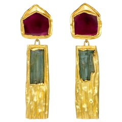 1987 Alexandra Watkins for Janiye Pink, Green Tourmaline and Gold Earrings