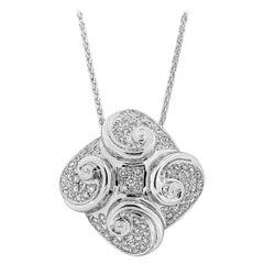 Roman Malakov 1.34 Carat Diamond Swirl Fashion Pendant Necklace