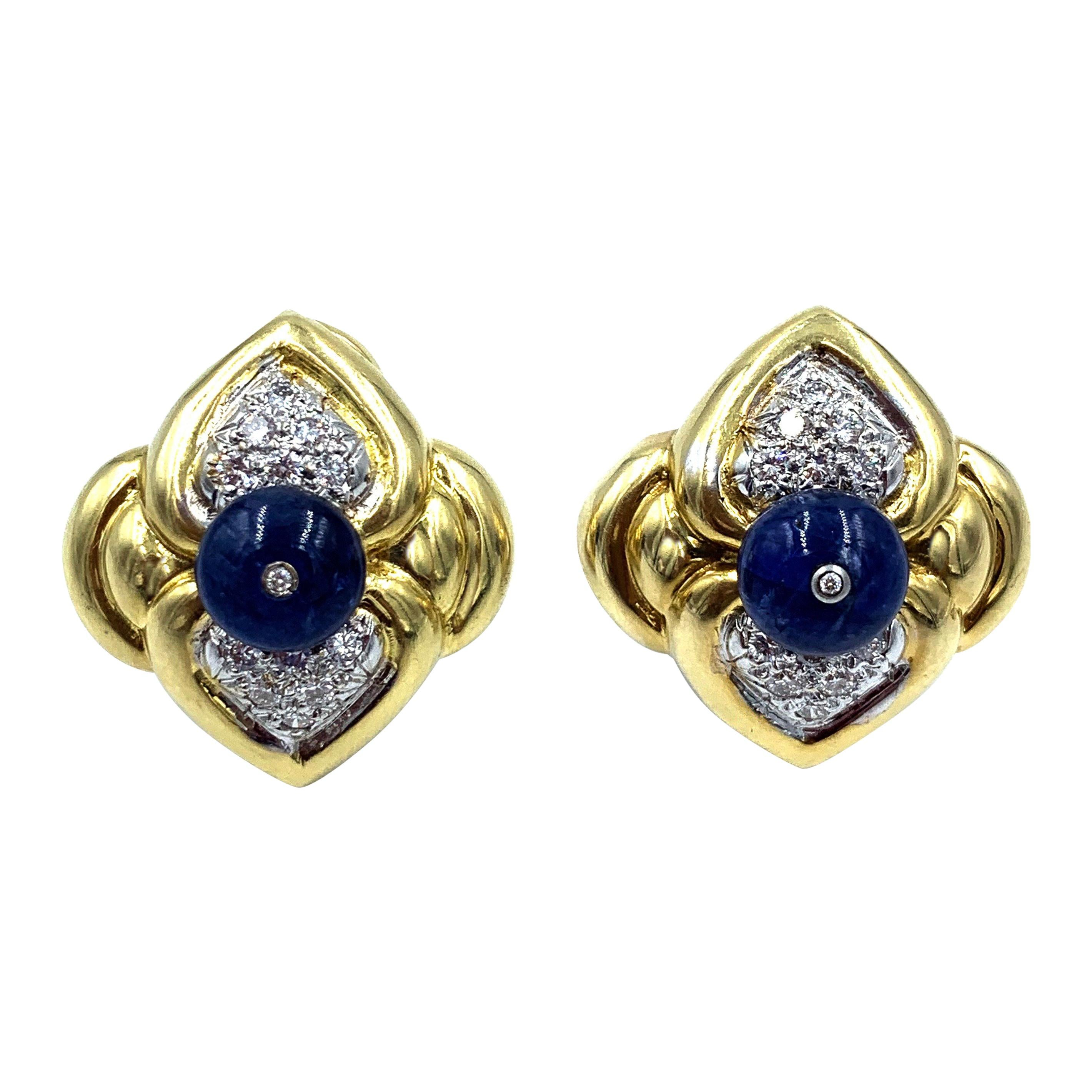 18 Karat Yellow Gold Cabochon Sapphire and Diamond Clip Earrings