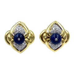 18 Karat Yellow Gold Cabochon Sapphire and Diamond Clip Earrings