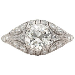 1.41 Carat Old European Diamond and Platinum French Engagement Ring