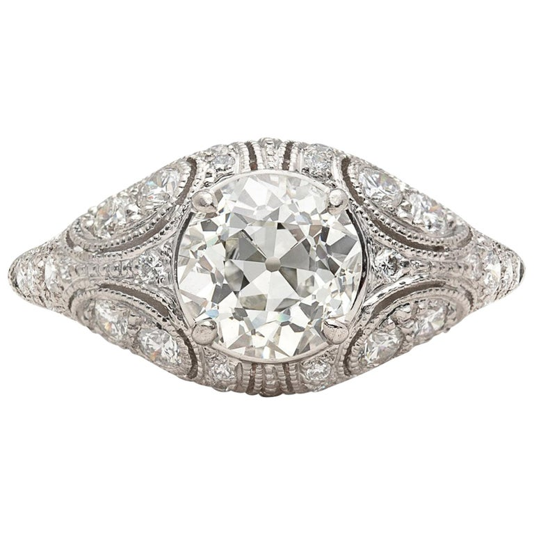 1.41 Carat Old European Diamond and Platinum French Engagement Ring For Sale
