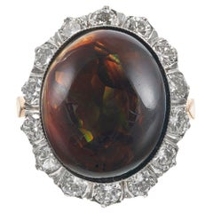 Fire Agate Cabochon and Diamond Cluster Ring