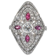 """Art Deco Style """"Four-Leaf Clover"""" Diamond and Ruby Plaque Ring"""