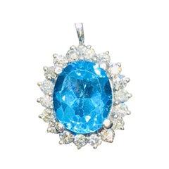 London Blue Topaz VS Diamond Halo Necklace Pendant
