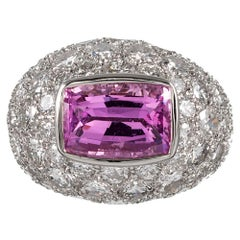 5.91 Carat Pink Sapphire and Diamond Dome Ring