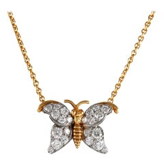 Diamond Butterfly Necklace, Signed Van Cleef & Arpels