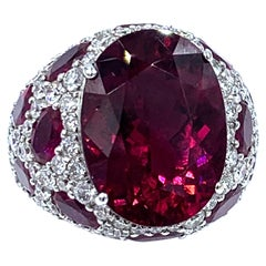 Asprey Rubellite Ruby Diamond and 18 Karat White Gold Cocktail Ring