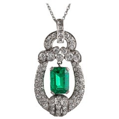 Midcentury Emerald and Diamond Pendant