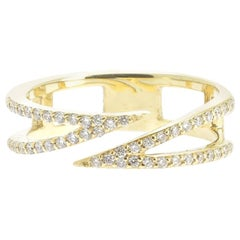 0.25 Carat GVS Round Diamond Cocktail Ring 18 Karat Yellow Gold Thunder Ring