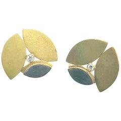 Maria Samora, Taos, New Mexico Designer,  18k Two-Tone Gold Earrings Diamonds