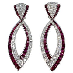 Van Cleef & Arpels Diamond and Ruby Earrings