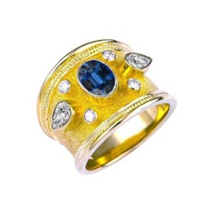 Georgios Collections 18 Karat Yellow Gold Blue Sapphire and Pear Diamond Ring