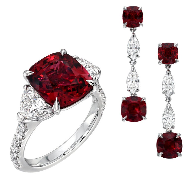 Unheated Ruby Diamond Platinum Drop Earrings Red Spinel Diamond Ring Set For Sale