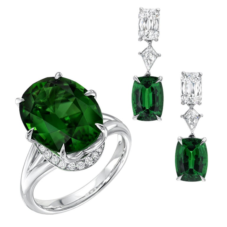 Chrome Green Tourmaline Diamond Ring Tsavorite Diamond Earrings Platinum Set For Sale