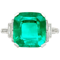 GCS Certified Antique 5.00 Carat Colombian Emerald Ring