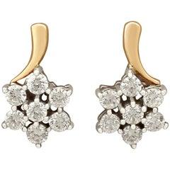 1.12 Carat Diamond Yellow Gold Earrings
