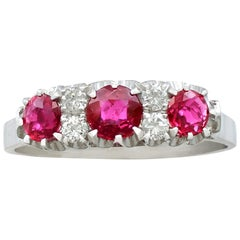 Italian 1.24 Carat Ruby and Diamond White Gold Half Eternity Ring