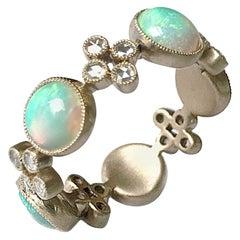 Dalben Australian Opal Diamond Gold Big Band Ring